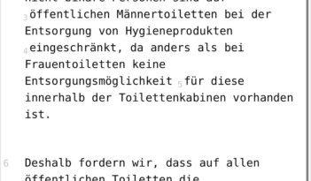 SPD Sachsen - Mülleimer für Hygieneprodukte auf öffentlichen Männertoiletten für menstruierende Männer und non-binäre Personen