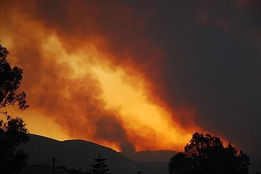 Symbolbild Waldbrand auf der Insel Zakynthos, Griechenland, am 25. Juli 2007, Carl Osbourn, CC BY 2.0 https://creativecommons.org/licenses/by/2.0, via Wikimedia Commons